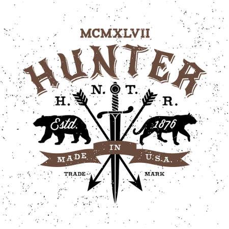 the hunter: cazador de la etiqueta del vintage (T-Shirt Print)