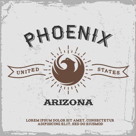 vintage label with Phoenix icon Illustration