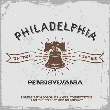 vintage label with Philadelphia icon