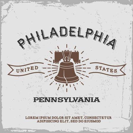 Etiqueta de la vendimia con Filadelfia icono Foto de archivo - 36957126