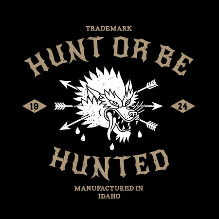 vintage label hunt or be hunted icon