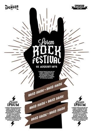 logo rock: affiche du festival rock hippie avec la main ruban foudre starburst