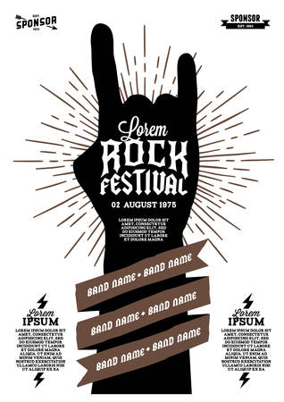 music poster: hipster rock festival poster with hand ribbon lightning starburst Illustration