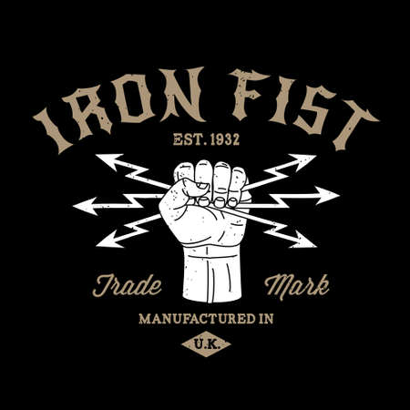 tattoo arm: hipster protest label iron fist icon