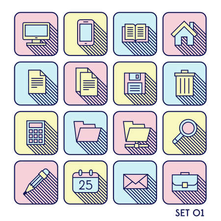 phone book: hipster flat icon set with shadow display mobile phone book diskette calculator pencil Illustration