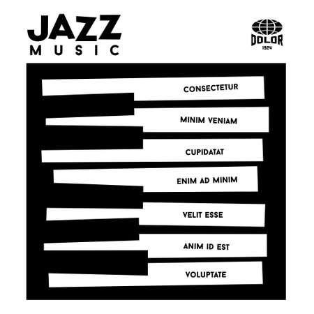 hipster jazz album cover met piano toetsenbord