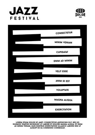 piano keys: hipster jazz festival poster with piano  keyboard