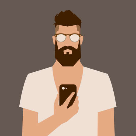 white beard: flat cartoon hipster character, vector illustration man with phone