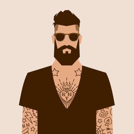 hombre barba: carácter inconformista de dibujos animados plana, ilustración vectorial hombre con el tatuaje Vectores