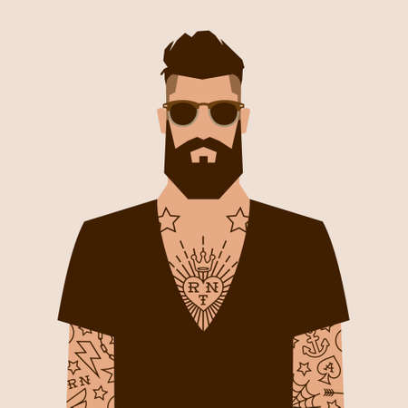 v neck: flat cartoon hipster character, vector illustration man with tattoo