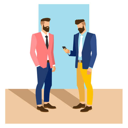 young businessman: flat cartoon hipster character, vector illustration two businessman with phone