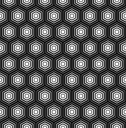 vector pattern abstract  op art seamless monochrome background with hexagon
