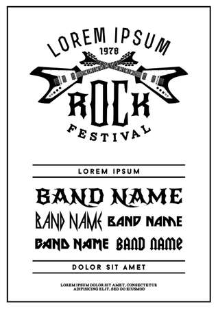 hipster black and white rock festival poster with electric guitar