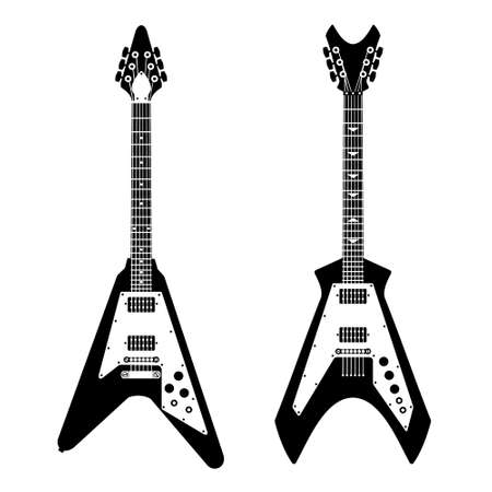 guitarra: monocromo negro y silueta blanca de la guitarra eléctrica Vectores