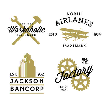 gears: hipster vintage label, logo, badge for your business or t-shirt print with spanner, hammer, plane, skyscraper, gear
