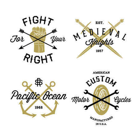 vintage badge: hipster vintage label, badge for your business or t-shirt print with arrow, fist, sword, anchor, spanner, wheel