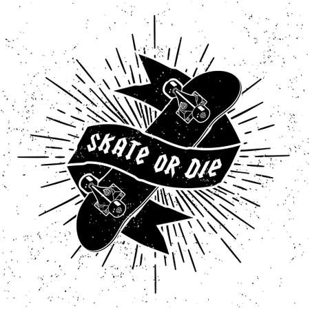 skates: hipster label   or tattoo Skate Or Die with skateboard ribbon starburst ( T-Shirt Print )
