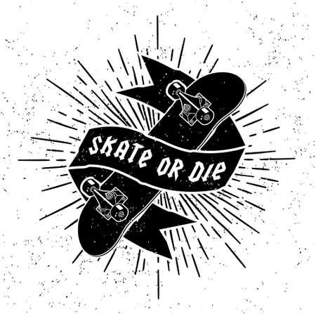 tatouage: �tiquette de hippie ou un tatouage Skate Or Die avec planche � roulettes de ruban Starburst (T-Shirt Print)