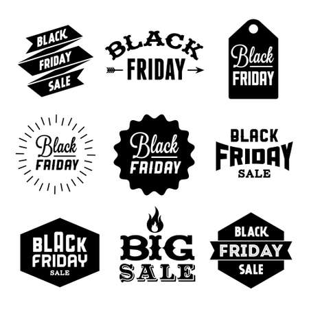 collection monochrome black friday label, badge for your business  with arrow, fire, ribbon, starburst Vectores