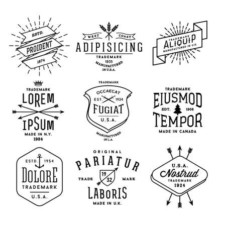 badge icon: collection monochrome hipster vintage label,  badge for your business or t-shirt print with arrow, crown, sword, anchor, ribbon, fir tree Illustration