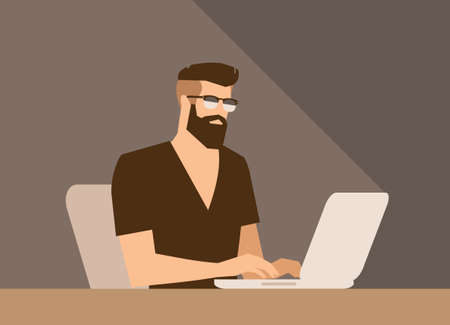 v neck: flat cartoon bearded hipster freelancer character, vector illustration, man with laptop