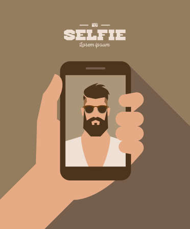 flat cartoon bearded hipster character taking selfie photo on smart phone, vector illustration with hand Vectores