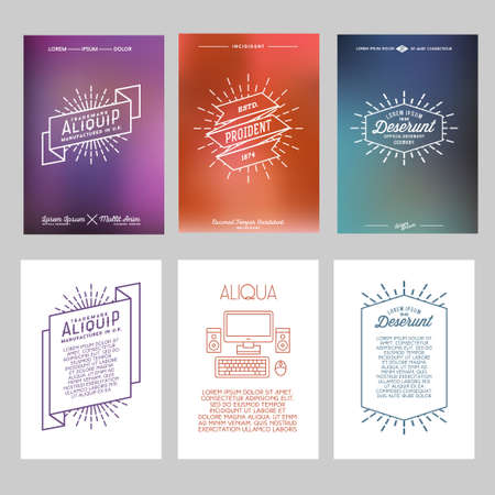 graphic illustration: set hipster geometric typography gradient retro flyer , poster with star burst , ribbon , computer