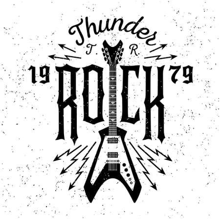 """guitarra: monocromo inconformista del vintage, tarjeta de identificación, flayer """"rock trueno"""" para el cartel o la camiseta de impresión con la guitarra eléctrica, un rayo"""