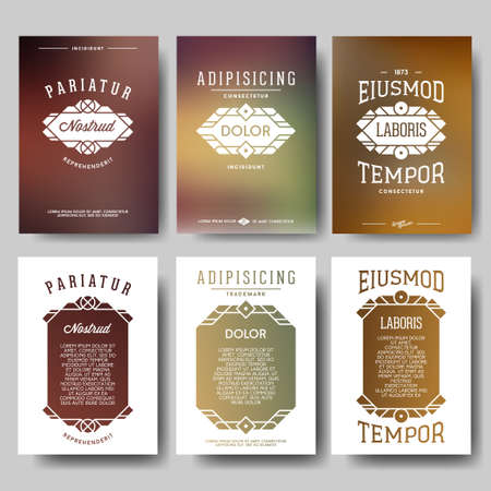 composition art: set hipster geometric typography gradient retro flyer , poster with frame , border , label , badge
