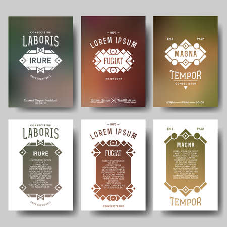 antique art: collection hipster geometric typography gradient retro flyer , poster with frame , border , label , badge