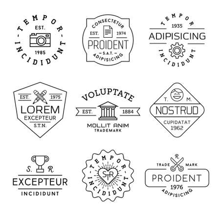 tattoo face: collection monochrome hipster vintage label,  badge for your business or t-shirt print with photo camera, gear, pencil, bank, face,  champion cup, heart, scissors