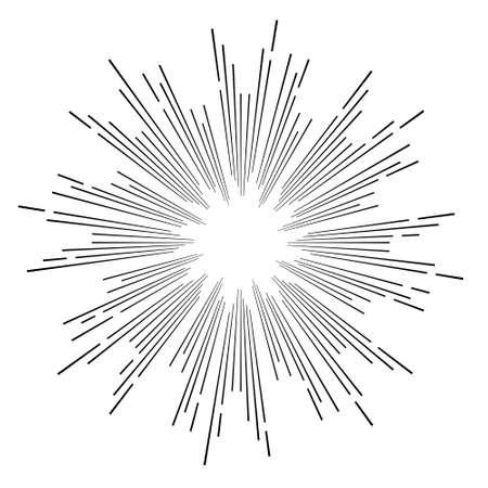 hipster stijl vintage vector zwart-wit ster barsten met straal Stock Illustratie
