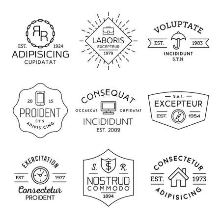 badge with ribbon: collection monochrome hipster vintage label, badge for your business or t-shirt print with portfolio, umbrella, mobile phone,monitor, compass, clock, shield, house, ribbon, starburst