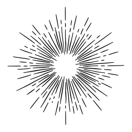 monochrome hand draw hipster style retro vector  starburst with ray for badge label Illustration