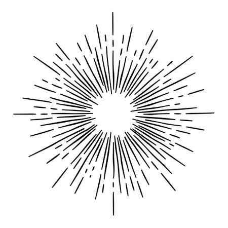 Monocromo estilo inconformista drenaje de la mano del vector Starburst retro con rayos para el sello distintivo Foto de archivo - 45324727