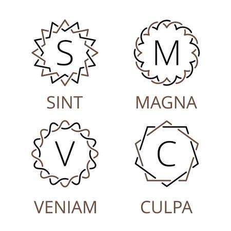 Art deco blanco y negro del vector inconformista mínima trama geométrica lineal de la vendimia, frontera, etiqueta, insignia para su monograma Foto de archivo - 45324807