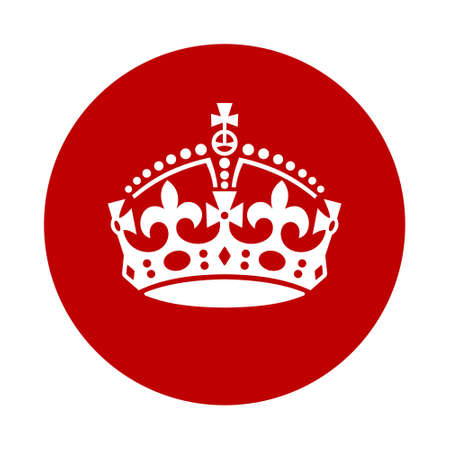 El vintage guarda calma icono de la corona. silueta blanca sobre fondo rojo Foto de archivo - 45324808