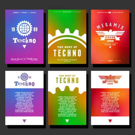 set hipster geometric typography gradient vintage club flyer for party. poster with earth , gear , ribbon, eagle Ilustração