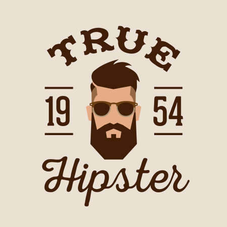 man and banner: retro color label badge or logo True Hipster with head beard glasses ( T-Shirt Print )