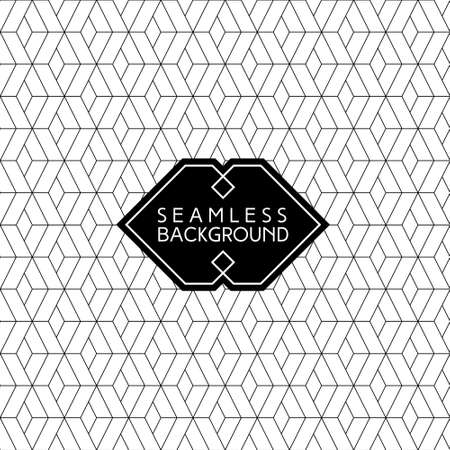 seamless retro art deco black and white background with hipster label or badge