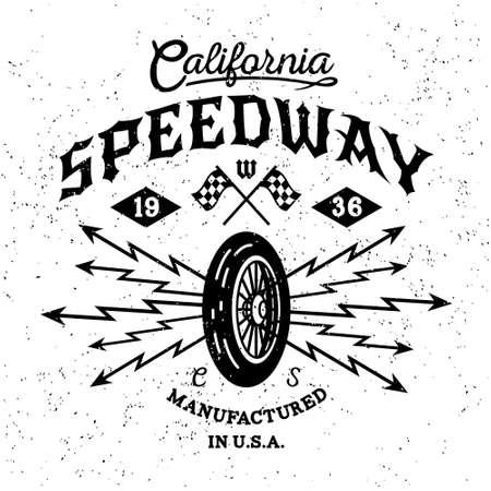 """vintage: monocromático etiqueta do vintage do motociclista, emblema, logotipo """"California Speedway"""" para o cartaz do moderno ou t-shirt de impressão com roda, raios Ilustração"""