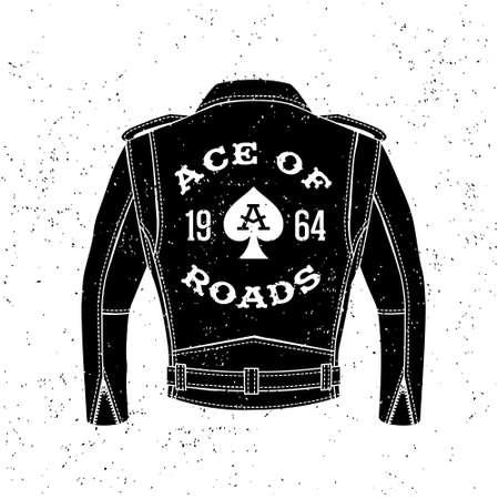"""motor race: monochrome vintage biker label, kenteken, logo """"Ace Of Wegen"""" voor hipster affiche of t-shirt druk met zwart motorjack, schoppenaas Stock Illustratie"""