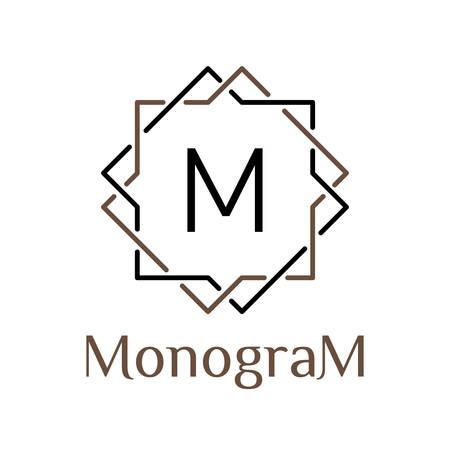 RAbe monocromo vector inconformista mínima trama lineal vintage, frontera, etiqueta, insignia para su monograma o logotipo Foto de archivo - 45351894