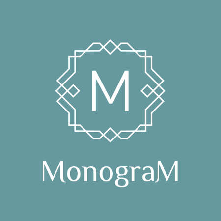 geometric monochrome minimal vintage art deco vector hipster  linear frame , border , label ,  badge for your logo or monogram