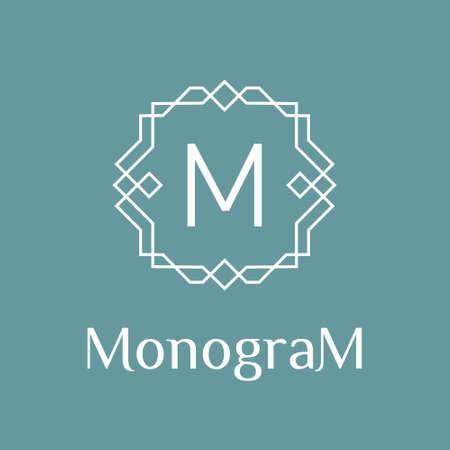 line art: monocromo geom�trica m�nima del art d�co del vector lineal inconformista marco, frontera, etiqueta, insignia para su logotipo o monograma