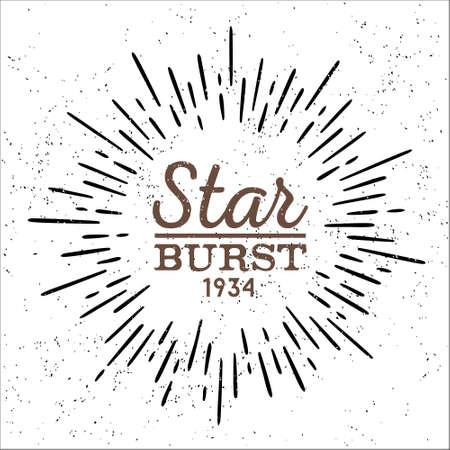 sol caricatura: estilo inconformista vendimia starburst sucio vector blanco y negro con rayos para el sello distintivo o logotipo