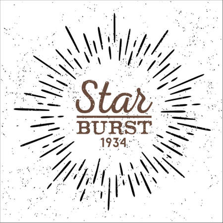 brandweer cartoon: vuile vintage hipster stijl vector monochrome starburst met ray voor badge label of logo