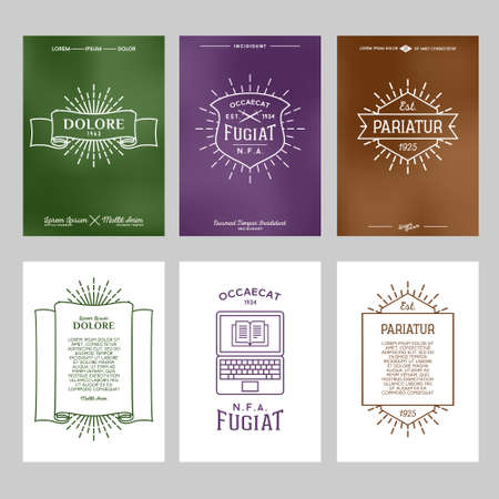 antique art: set hipster typography gradient vintage label , flyer or poster with logo, star burst , ribbon , shield , laptop , Illustration