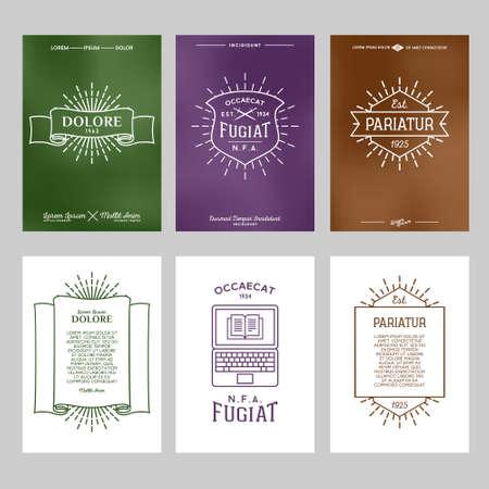 set hipster typography gradient vintage label , flyer or poster with logo, star burst , ribbon , shield , laptop , Ilustração