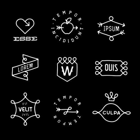 set monochrome hipster line vintage label, logo, badge for your business or t-shirt print with arrow, crown, heart, apple, ribbon, shield Ilustração